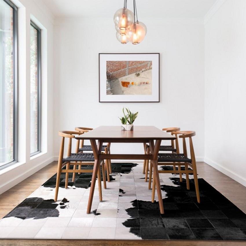 Tapis de patchwork de fourrure de peau de vache naturelle de luxe, tapis de salon mélangé noir et blanc tapis de sol de salle à manger décoratif