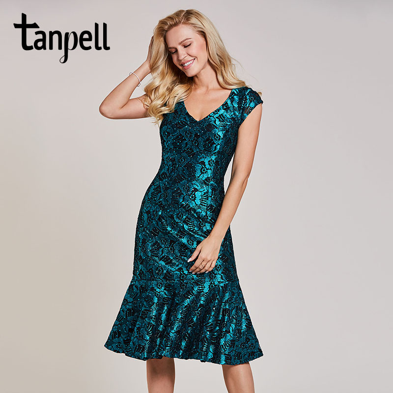 Tanpell beaded mermaid cocktail dress dark green cap sleeves tea length gown women lace v neck