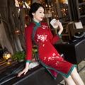 Rojo Clásico Estilo Rodilla Leng Vestido Qipao Cheongsam Chino de La Vendimia de Las Mujeres Mujer Vestido de flores Tamaño Sml XL XXL XXXL 411999