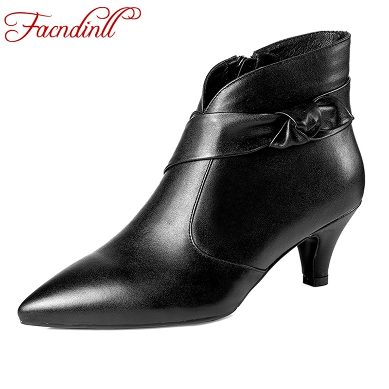 купить FACNDINLL genuine leather women ankle boots shoes sexy high heels pointed toe black red autumn winter woman dress party shoes по цене 3399.2 рублей