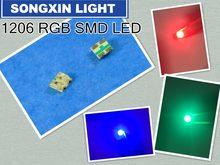 100 pces 1206 (3227) rgb comum ânodo smd led grânulo tricolor vermelho verde azul ultra brilhante chip diodo emissor de luz lâmpada smt