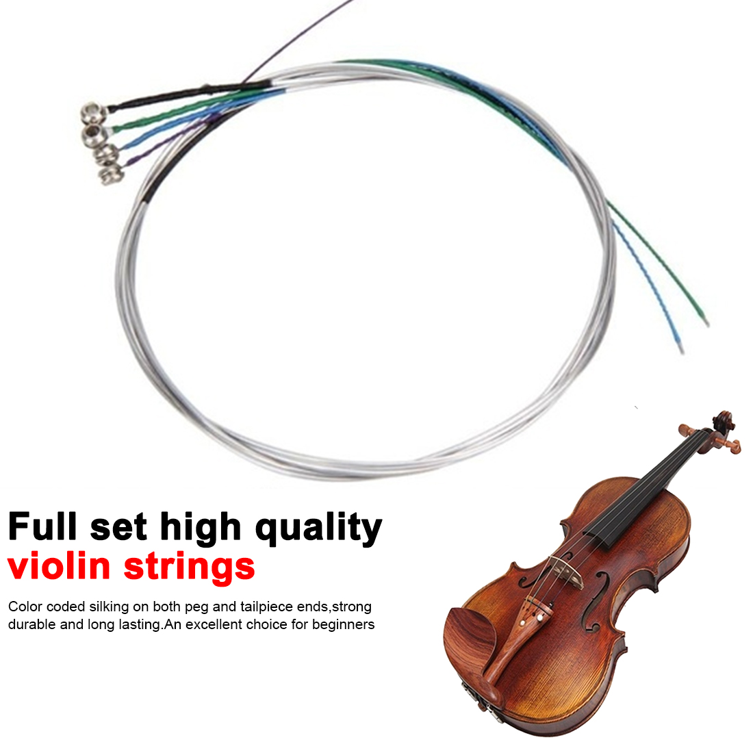 Full Set High Quality Violin Strings Size 4/4 & 3/4 Violin Strings Steel Strings G D A And E Musical Instrument Accessories