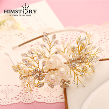 Handmade Style Gold Plated  Beaded Faux Pearl Rhinestone Wedding Bridal Tiara  Pageant Hairband Accessories