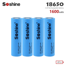 Soshine LiFePO4 18650 Rechargeable Battery 3.2V 1600mAh Replacement Battery safe batteries Industrial use For Flashlight Toys soshine rechargeable 1800mah lifepo4 18650 batteries black 2 pcs