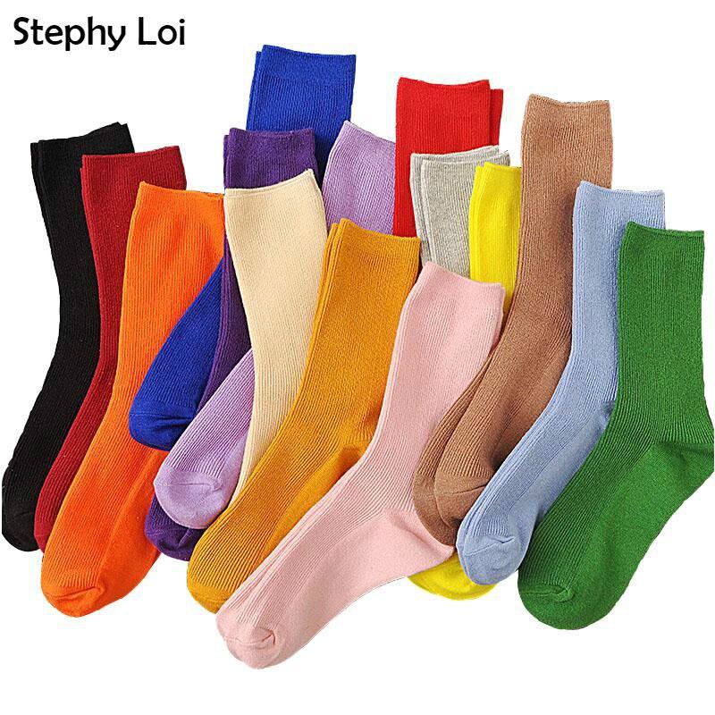 Новый цвет Harajuku ретро женские хлопковые свободные носки зимние в Корейском стиле фиолетовые синие желтые розовые дизайнерские рождественские милые|Носки|   | АлиЭкспресс