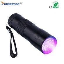 цена на Mini Portable UV Flashlight Violet Light 9 LED UV Torch Light Lamp Flashlight Free Shipping
