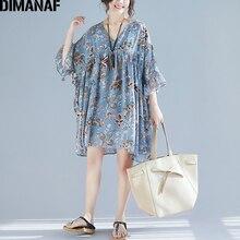 Vestidos DIMANAF V 女性のプリント花柄トップスシャツゆるいカジュアルなプリーツ