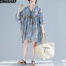 DIMANAF Plus Size Women Blouse Summer Chiffon Elegant Lady V-Neck Vestidos Female