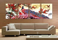 Long Tail Peacock Animal Traditional Chinese Style Flower Bird Canvas Oil Painting By Numbers Wall Art