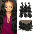 8A Ear To Ear Lace Frontal Closure With Bundles Peruvian Virgin Body Wave With Closure Human Hair 3 Bundles With Frontal Closure