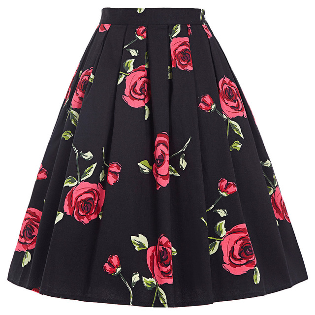 2016 Skirts Jupe Women Flora Print Vintage Retro Cotton Pleated Skater Skirt Falda High Waist Midi Skirt