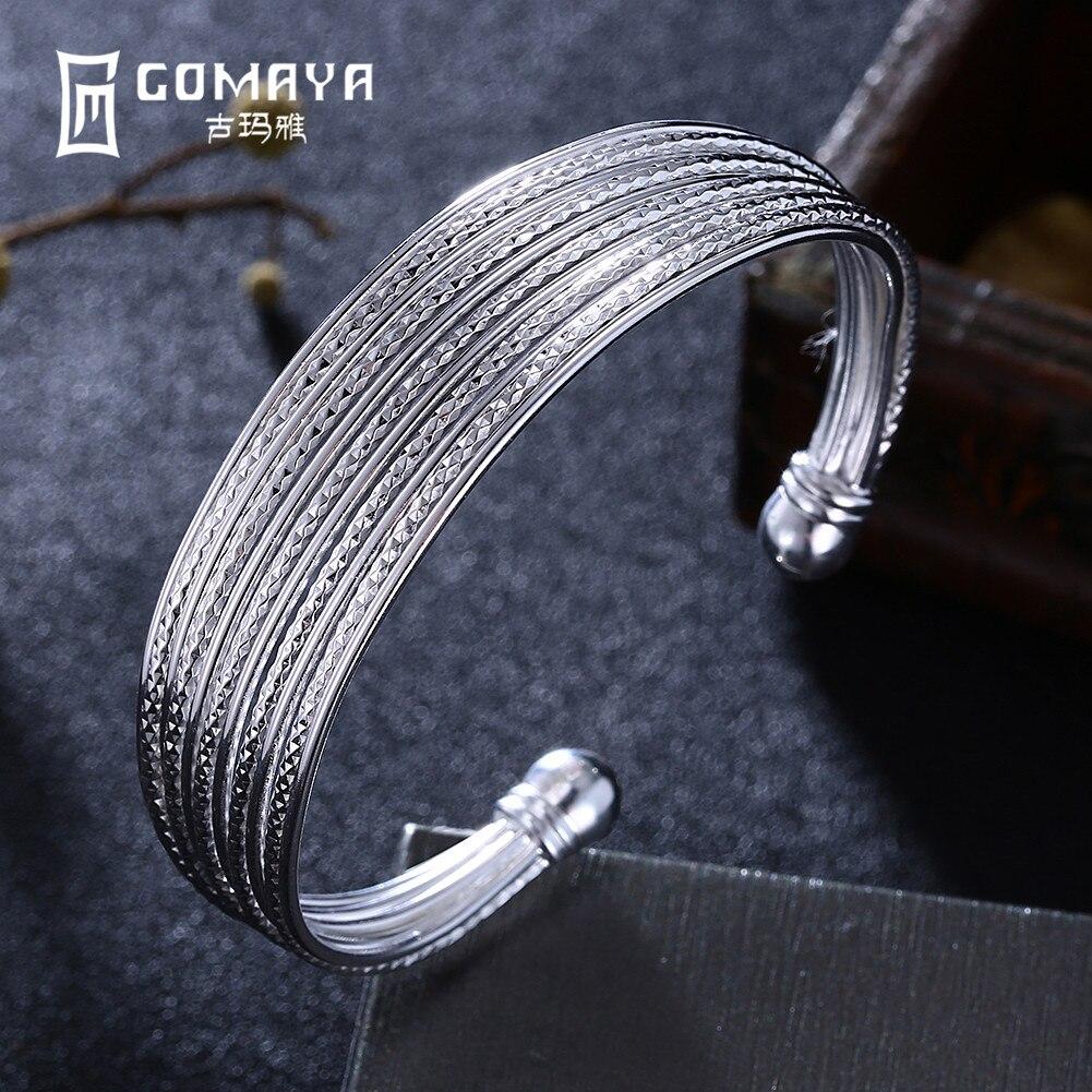 все цены на GOMAYA 100% 999 Sterling Silver Bangles Elegant Luxury Bracelets for Women Ethnic Fine Accessories Jewelry Engagement Gift онлайн