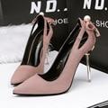 Only true love Новое прибытие насосы острым носом выдалбливают бантом низкий замши стилет высокий каблук 10 СМ набор ног для женщин обувь