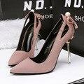Only true love nueva llegada bombas punta estrecha ahueca hacia fuera la bajo bowknot suede estilete de tacón alto 10 CM conjunto del pie para las mujeres zapatos