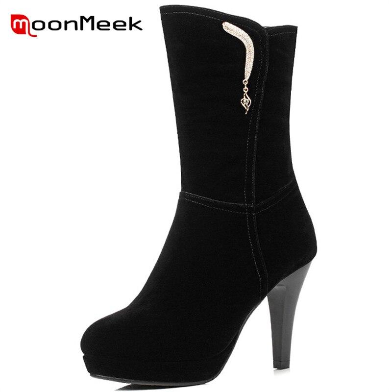 MoonMeek nouvelle arrivée 2018 élégant troupeau femme bottes hiver plate-forme bottes super haut talon classique noir mi-mollet bottes dames
