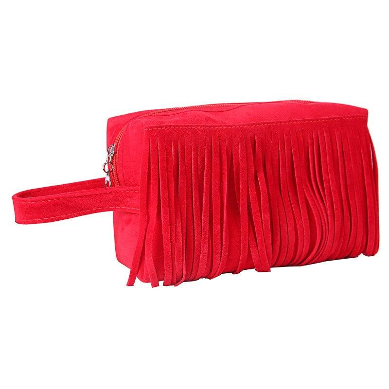 2017 Fashion Fleece Fabric Organizer Toiletry Bag Beauty Case kits Storage Tassel Handbag Women Makeup Bag Cosmetic Make Up Bag