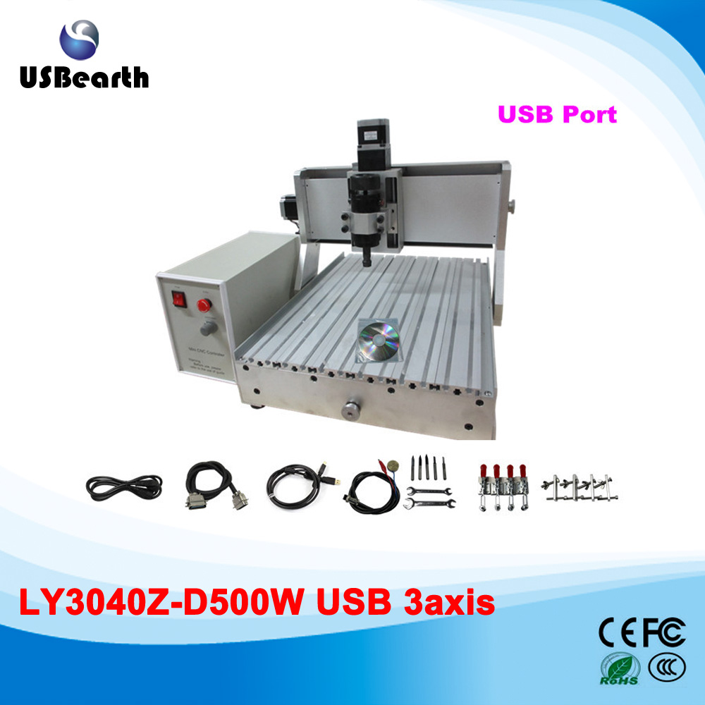 Mini CNC Machinery CNC Milling Machine 3040, woodworking machine with 500w spindle and USB interface, no tax to Russia russia tax fre cnc mill usb port 4 axis rotary aixs 3040 mini cnc milling machine 1500w spindle with water tank spray
