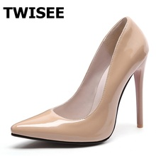 Brand Shoes Woman High Heels Pumps Red nude bottom thin High Heels 12CM Women Shoes High Heels Wedding Pumps Nude Shoes Heels(China)