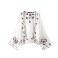 Women Sun Protective Clothing Bohemian Embroidery Chiffon Blouses Long Sleeve Patchwork Lace Kimono Cardigan Blusa Feminina
