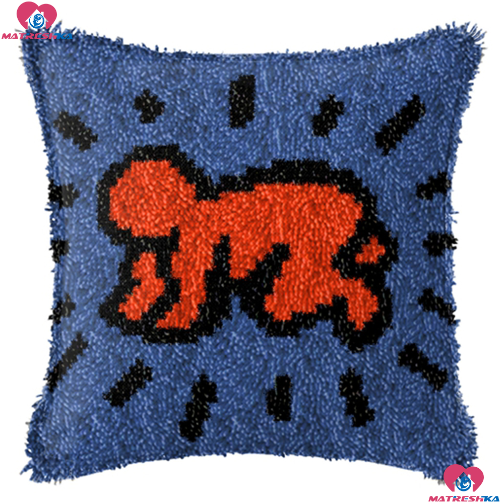 oshhni 1 Set Latch Hook Kits Pillow Case Cushion Cover 17x17 Sunset Landscape