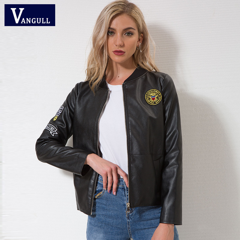 VANGULL   Leather   Jacket Spliced Appliques Cool Moto Style Fashion Coat Lady Elegant High Quality Autumn Winter PU Jacket Outwear