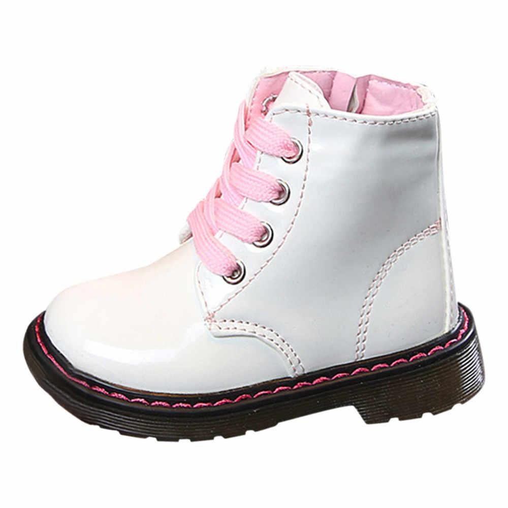 Botas de moto para niños botas impermeables de cuero PU botas de invierno para niños botas de nieve de marca para niños zapatos de goma zapatillas Botas