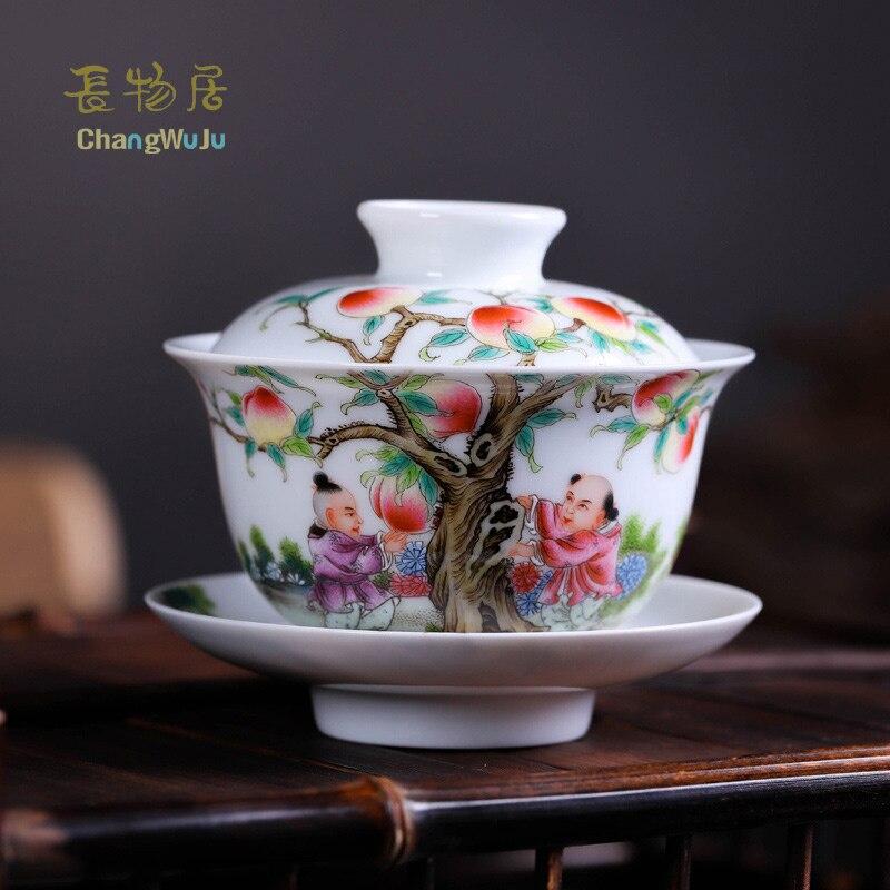 Changwuju dans Jingdezhen tasses et soucoupes tasse à thé chinoise grande taille peint à la main famille rose kung-fu tasse à thé couverture écologique