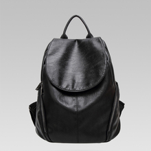 Fashion casual soft  PU leather backpack women classic solid color backpack travel anti theft high capacity