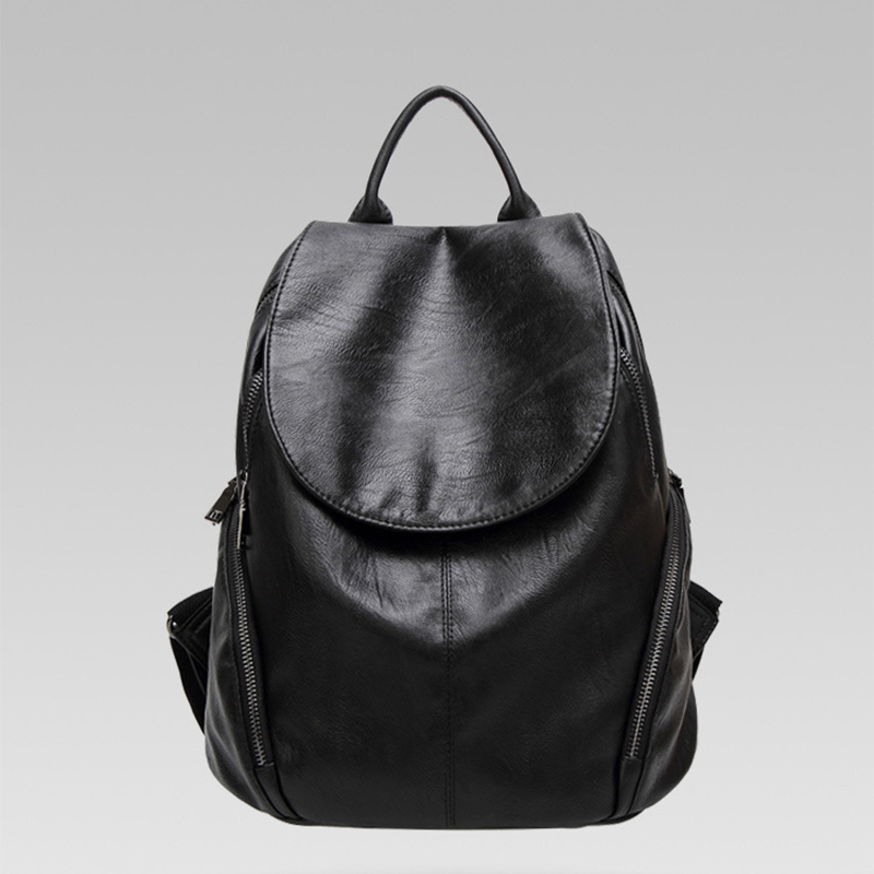 Fashion casual soft genuine leather backpack women real leather classic solid color backpack travel anti theft High capacity in Backpacks from Luggage Bags