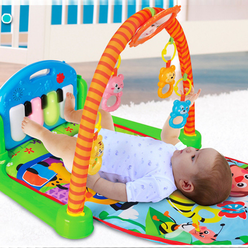 (Navire des états-unis) 3 en 1 tapis de jeu de plancher de gymnase de bébé centre d'activité musicale coup de pied et jouet de Piano de jeu