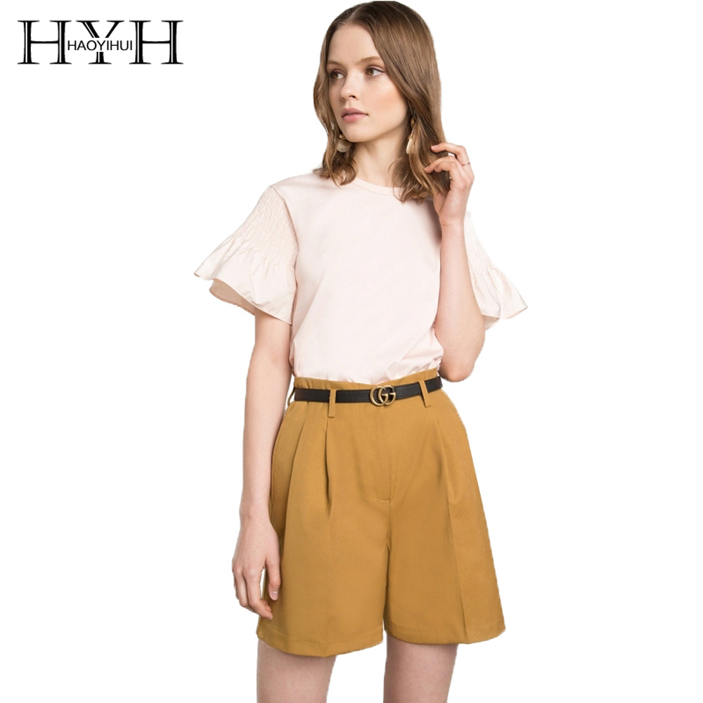 HYH HAOYIHUI Women Simple Solid Color Tops Casual Round Neck Short Sleeve Blouse Female Cute Loose Ruched Sleeve Drapped Shirt