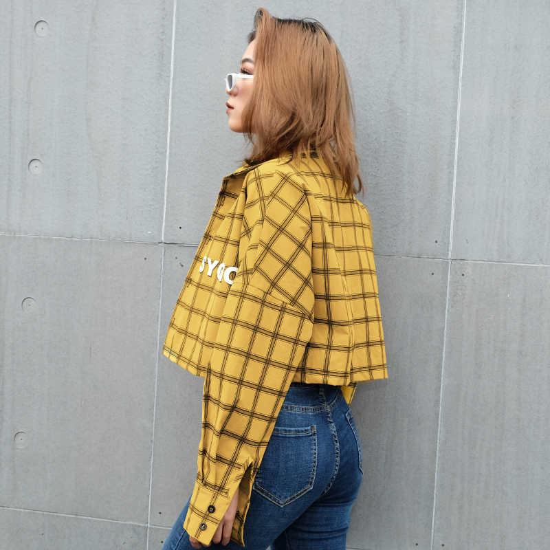 Rapwriter/модные клетчатые куртки с буквенным принтом, рубашка для женщин 2019, Весенняя Уличная Повседневная Верхняя одежда с отложным воротником, с длинными рукавами и пуговицами