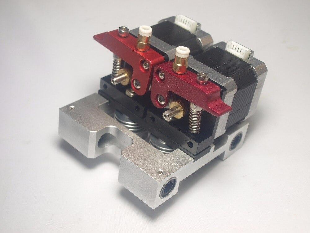 Reprap MKbot Replicator 3D printer metal dual direct extruder kit 1.75 mm fila with nema 17 stepper motor dual extruder carriage