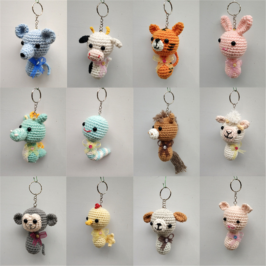 6cm Cute Animal Crochet Doll Key Chain  Knit Toy Pendant Bag Accessories