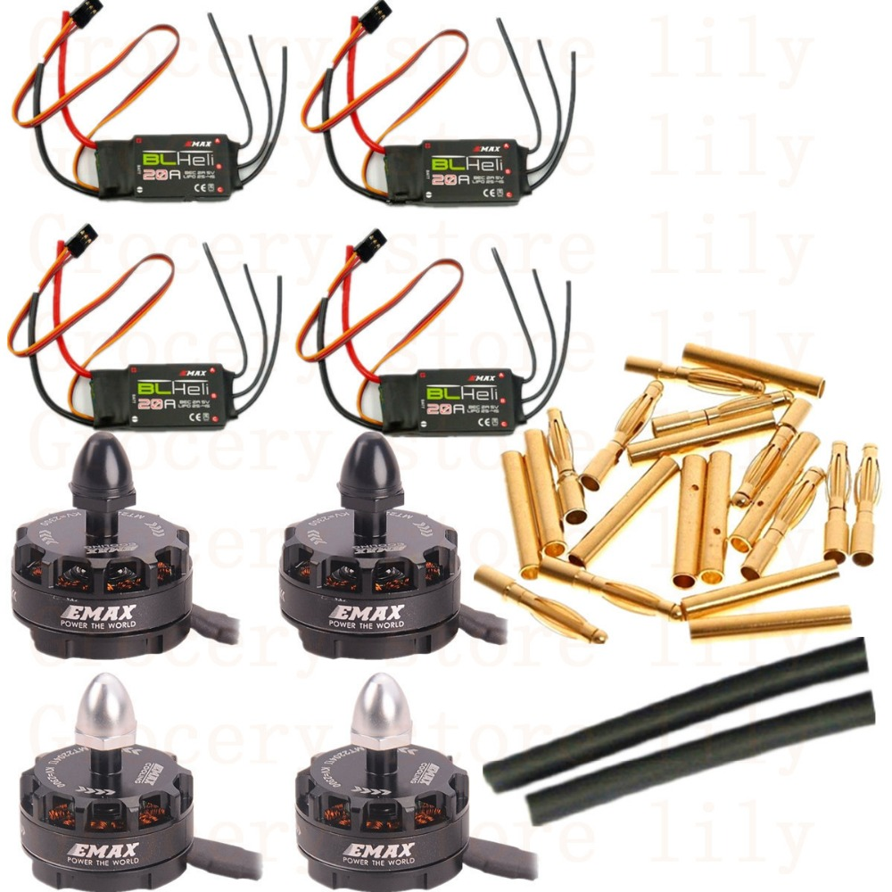 4X Emax MT2204 II 2300KV Cooling Brushless Motor&4X Emax BLHeli 20A ESC +20pairs 2.0mm connect For MINI QAV250 Quadcopter 25mm x 25mm brushless cooling fan for esc motor black