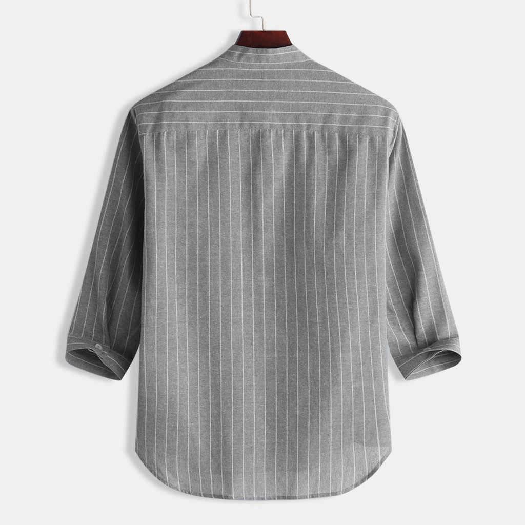 カミーサ masculina 夏男性のシャツカジュアルストライプは襟 7 点袖ボタンコットンシャツトップアロハシャツシュミーズ