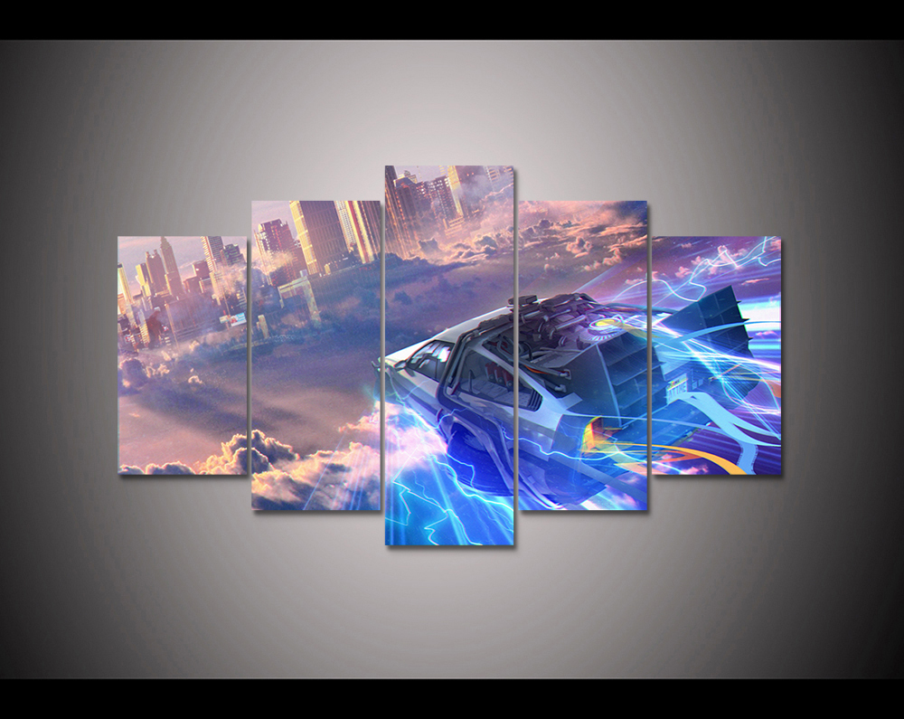 5 panel HD printed canvas print painting back to the future canvas poster Home Decor Wall art Pictures For Living Room F1898