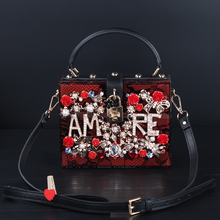 Diamond flowers hollow acrylic ms pearl lace small shoulder bag handbag at women messenger bag mobile-money party