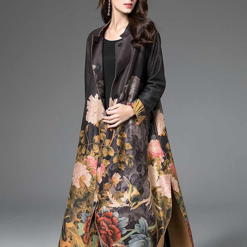 Gabardina para mujeres estilo chino abrigos largos Mujer invierno 2018 otoño tendencia estilos mujeres cálido trenchcoat AA4209
