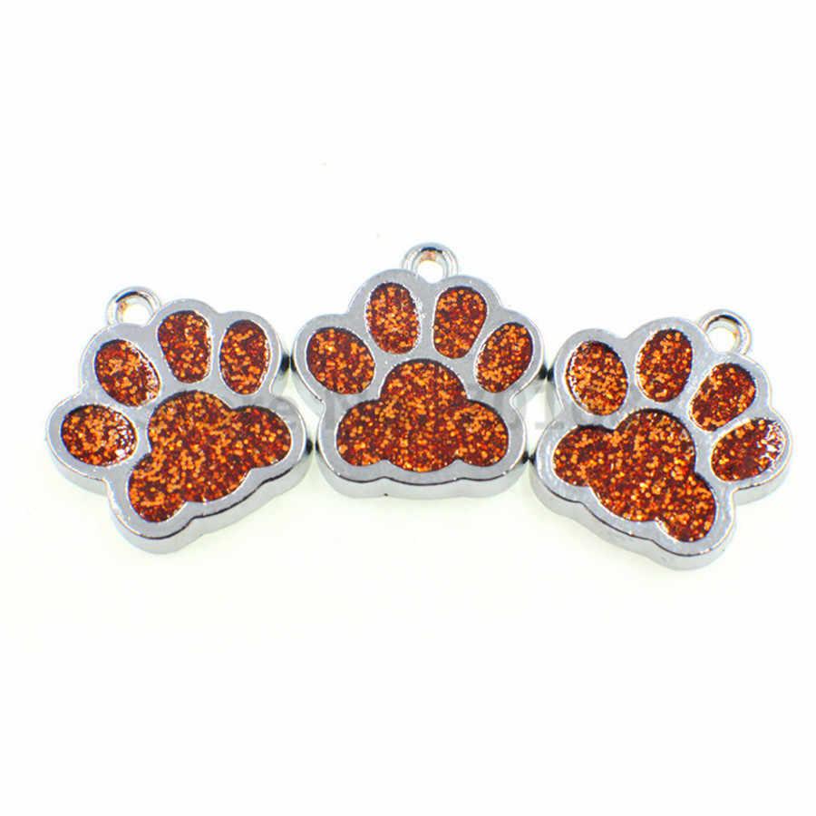 10 Chiếc HC358 Bling Men Chó Mèo/Gấu Paw In Hình Hàng Hạt Tòn Ten Quyến Rũ Phù Hợp Với Xoay Móc Khóa Keyrings túi Đựng Trang Sức Làm