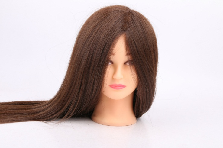 55cm 100% Real Human Hair Mannequin Hairdressing Dolls Head Cosmetology Educational Training