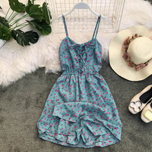 new Women 2019 Summer Spaghetti Strap Print Flower Backless Tunic  Lace Up Sexy V Neck Beach rompers Holiday Vestidos