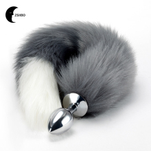 Anal Plug Stainless Steel Faux Fox Tail Sex Toys Cosplay Toy Wolf Insert Erotic For Women Couple Size S WB6