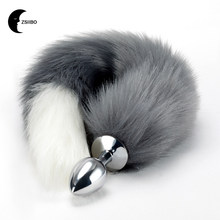 Anal Plug Stainless Steel Faux Fox Tail Sex Toys Cosplay Toy Wolf Tail Anal  Insert Erotic