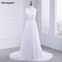 2017 New Style High Neck White Chiffon Sequined Beaded Floor Length Wedding Dress