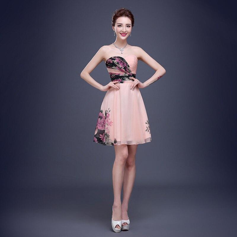 Online Shop Elegant Cocktail Dresses Strapless Chiffon Dress With ...