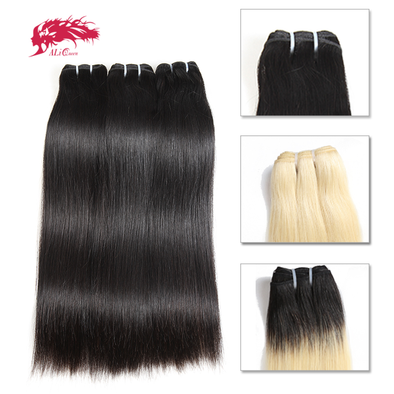 Ali Queen 10Pcs Straight Brazilian Human Unprocessed Virgin Hair Extension Bundle Weave Blonde 613 / Natural Black/1b 613 Color