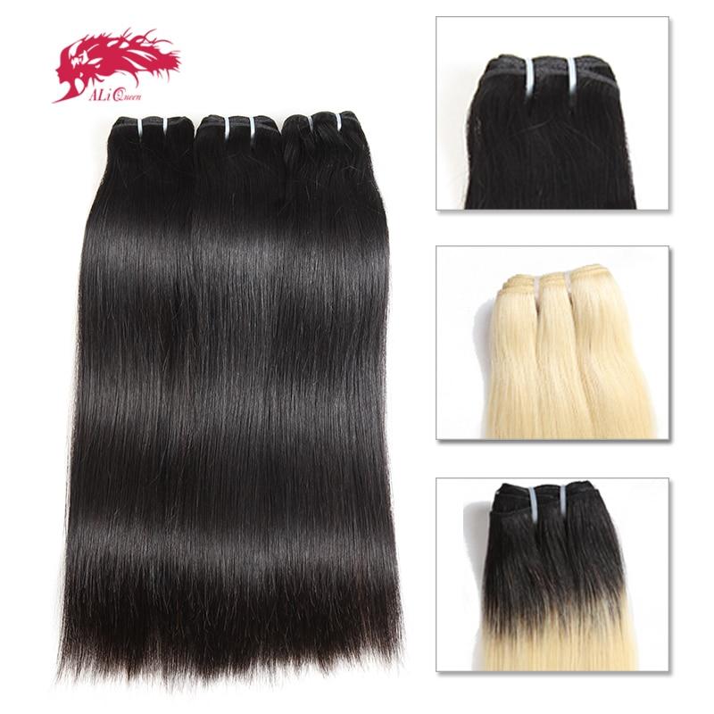Ali Queen 10Pcs Straight Brazilian Human Unprocessed Virgin Hair Extension Bundle Weave Blonde 613 / Natural Black/1b 613 Color