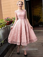 Latest Elegant Scoop Tea Length Graduation Dresses Lace Up Back With Bow Party Dresses Vestidos De