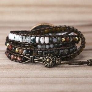 Image 2 - Labradorite stone vintage Leather Bracelet Mix Stones beads Women 5 Layers Wrap Bracelet Boho handmade Bracelet Jewelry gift